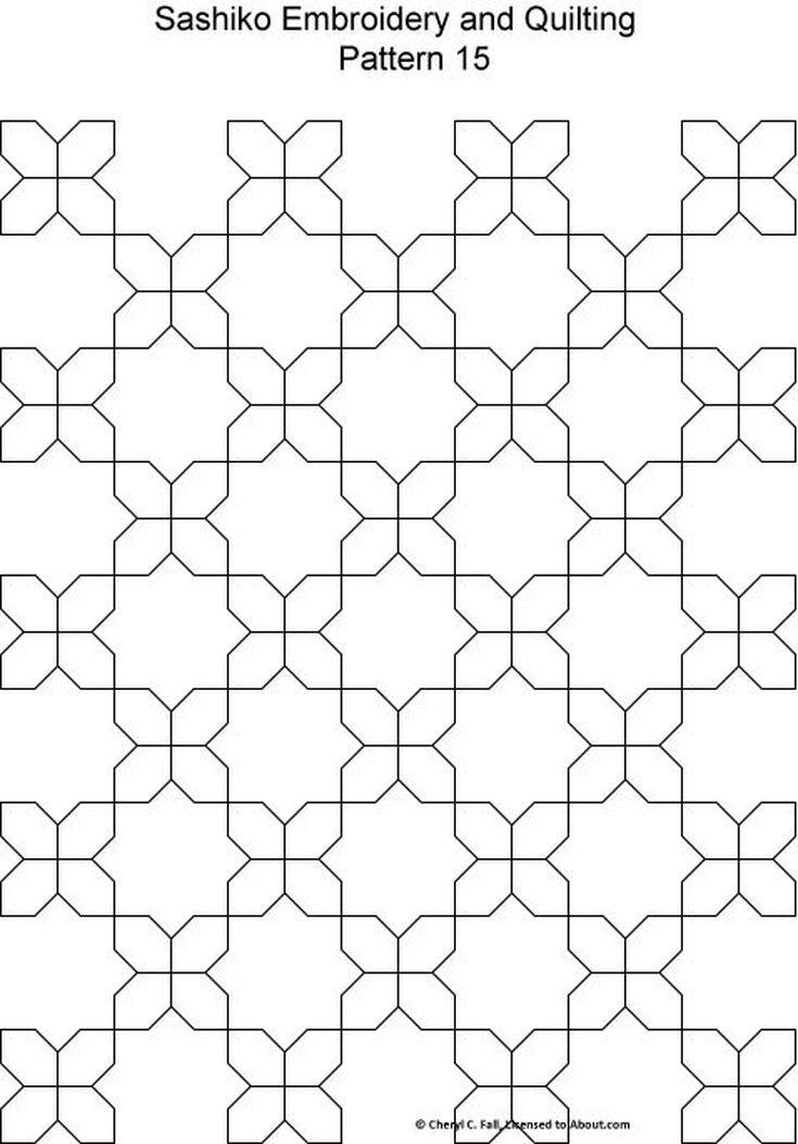 Sashiko Pattern 12 | Patrones de bordado, Patrones y Bordado