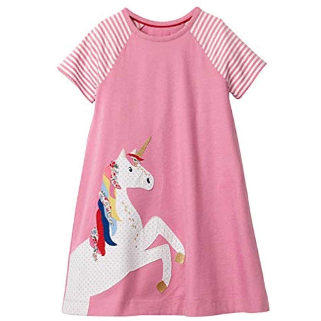 Madchen Baumwolle Kurze Armel Kleid Lassiger Susser Drucken T Shirt Kleid 1 7 Jahre Rocke Roc Madchen Sommerkleider Madchen Kleidung Kleinkind Madchen Kleider