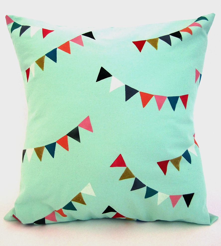 Bunting Pillow Cover | With bright colors and a fun bunting print, this pillow cover ... | Throw Pillows
