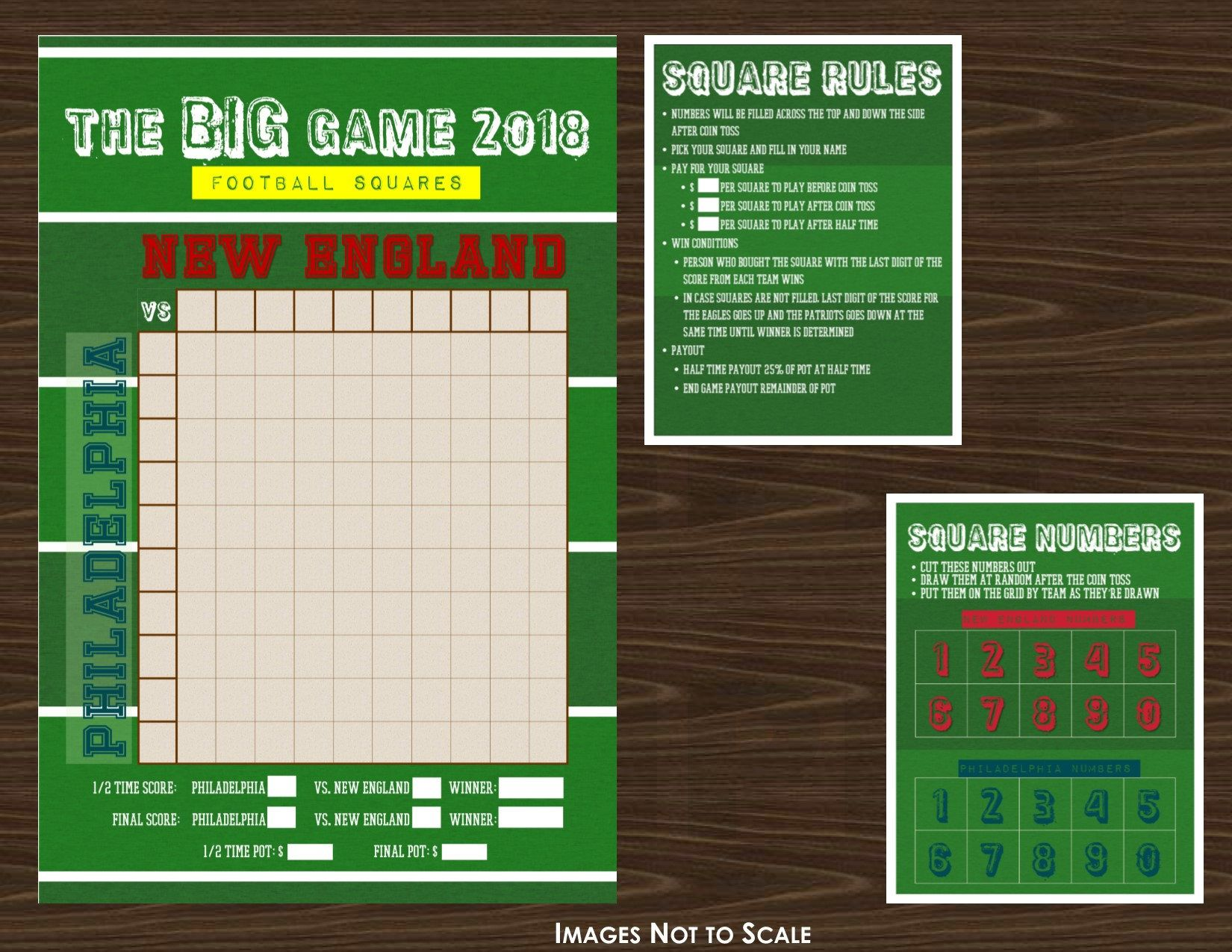 The Big Game 2018 Football Grid or Squares Game Field