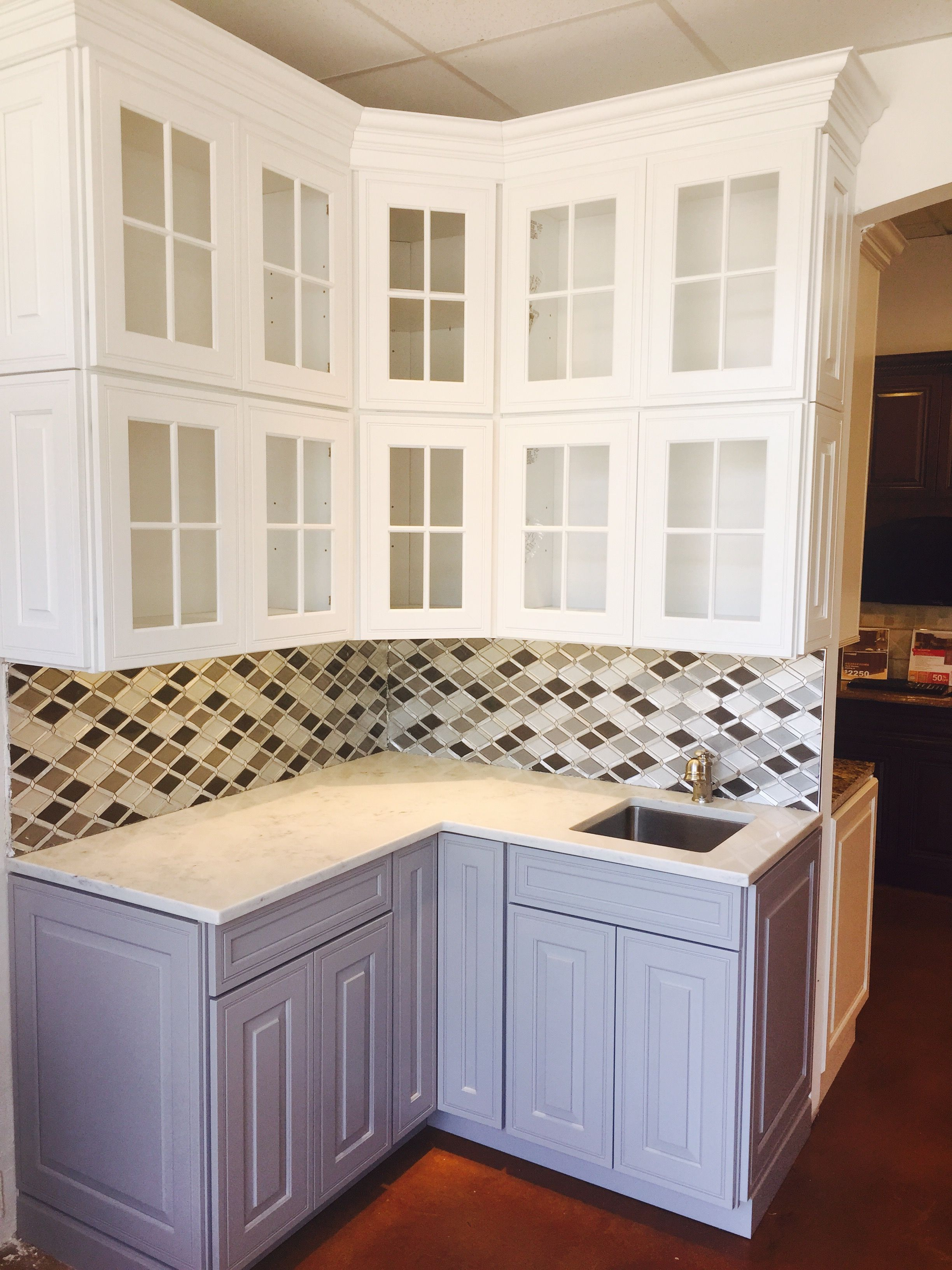 Waypoint maple linen wall cabinets with painted stone base cabinets ...