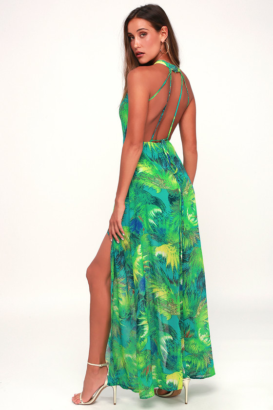 Tropic Of Discussion Green Tropical Print Maxi Dress Tropical Print Maxi Dress Chic Maxi Dresses Printed Maxi Dress