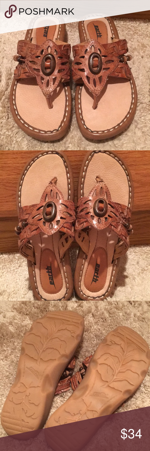 3ac56579e01 New Earth shoes wander brown thongs sandals 6 New NWOB Earth shoes sandals  wander sand brown size 6