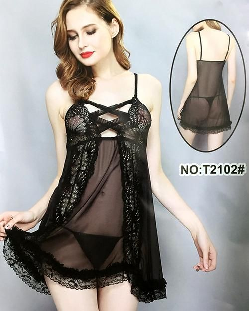 Transparent Black Lace Nighty – Women Sleepwear for Rs.1599 at Lootlo.pk  c556d0412