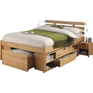 buy ultimate storage double bed frame pine effect at argoscouk - Double Bed Frame With Storage