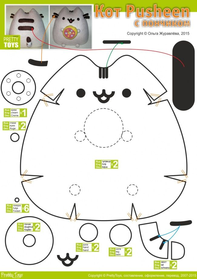 Pusheen Plush Diagram :) | gatos =^°^= | Pinterest | Patrones ...