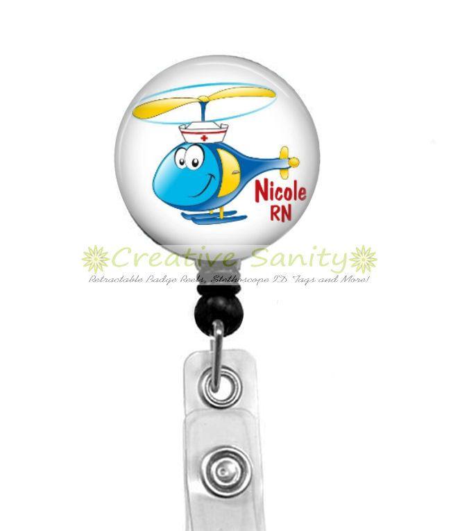 Personalized Pediatric Flight Nurse Retractable ID Badge Holder, Helicopter Nurse,  Choice Of Badge Reel