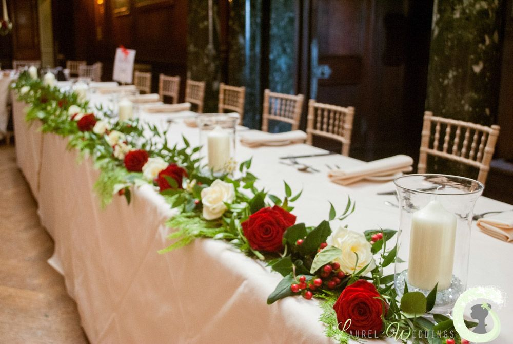 Red And Ivory Top Table Garland At Thornton Manor