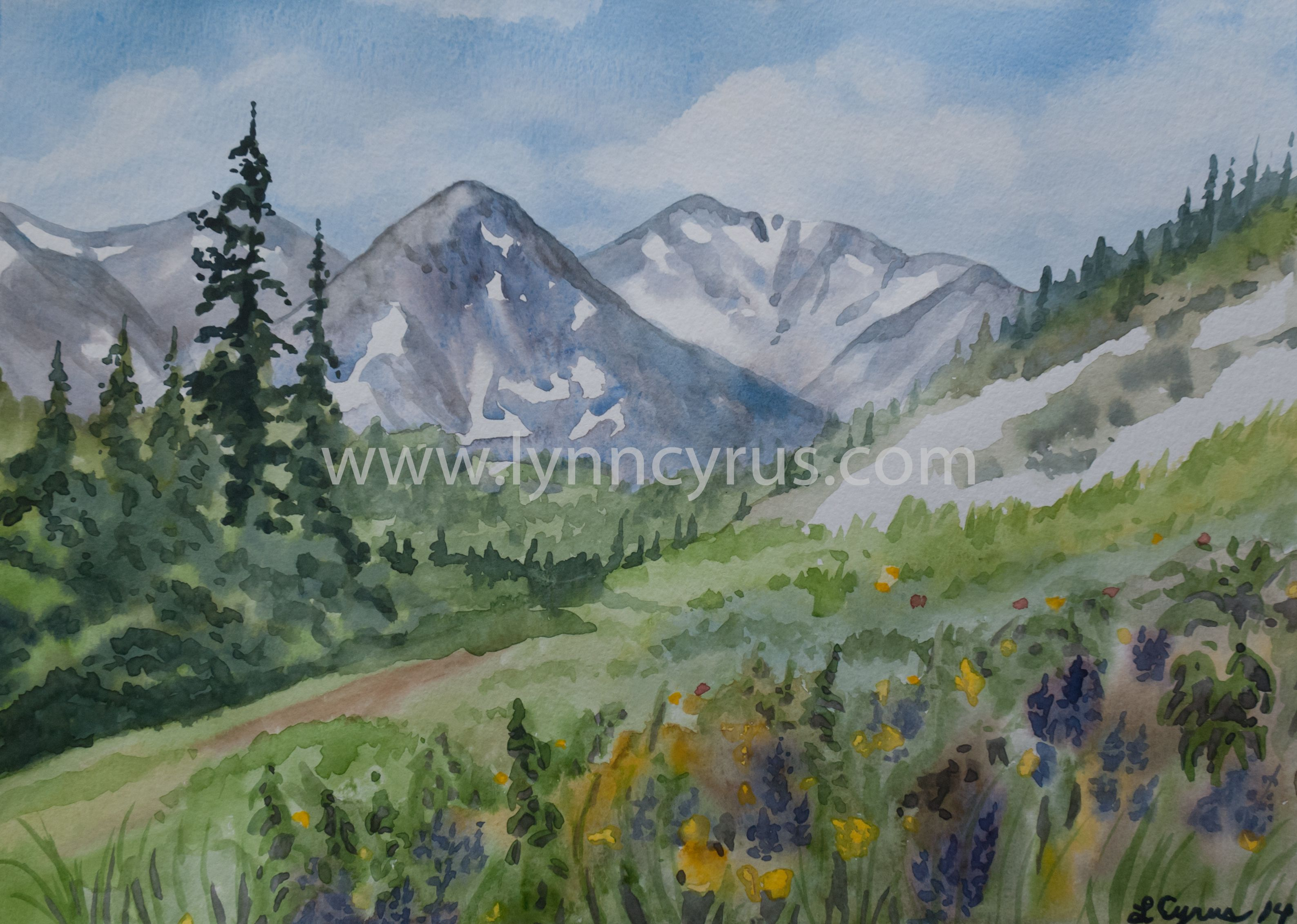 Mountain Sunset 2 By Varvara Harmon Watercolor Sunset