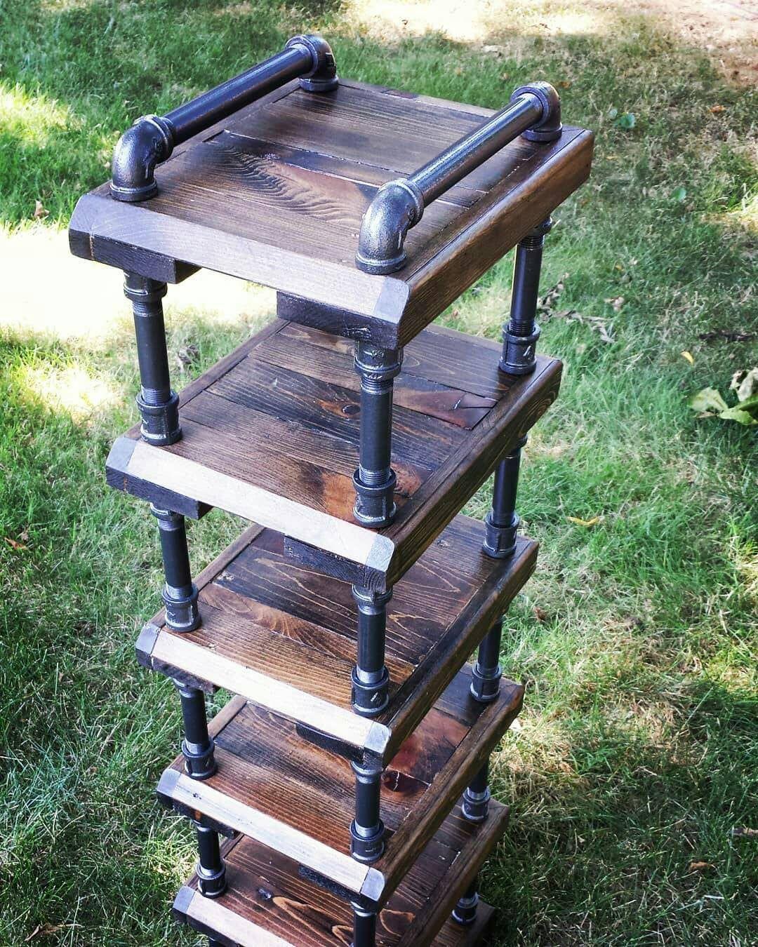 Rustic space saving high rise shoe rack industrial