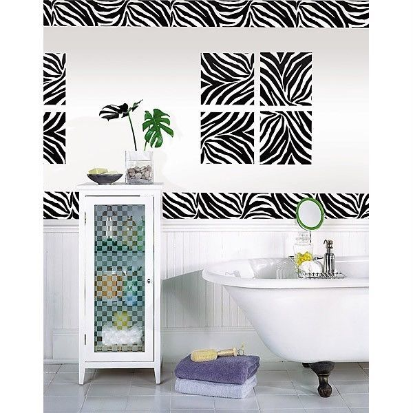 $1409 - Zebra Print 16\u0027 Removable Sticker Wall Border Stripe Animal