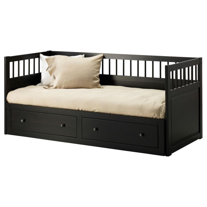 Versatile Hemnes Full Size Daybed Ikea Stunning With Storage Drawers Design Black Frame And Beige White Cushions Workdon