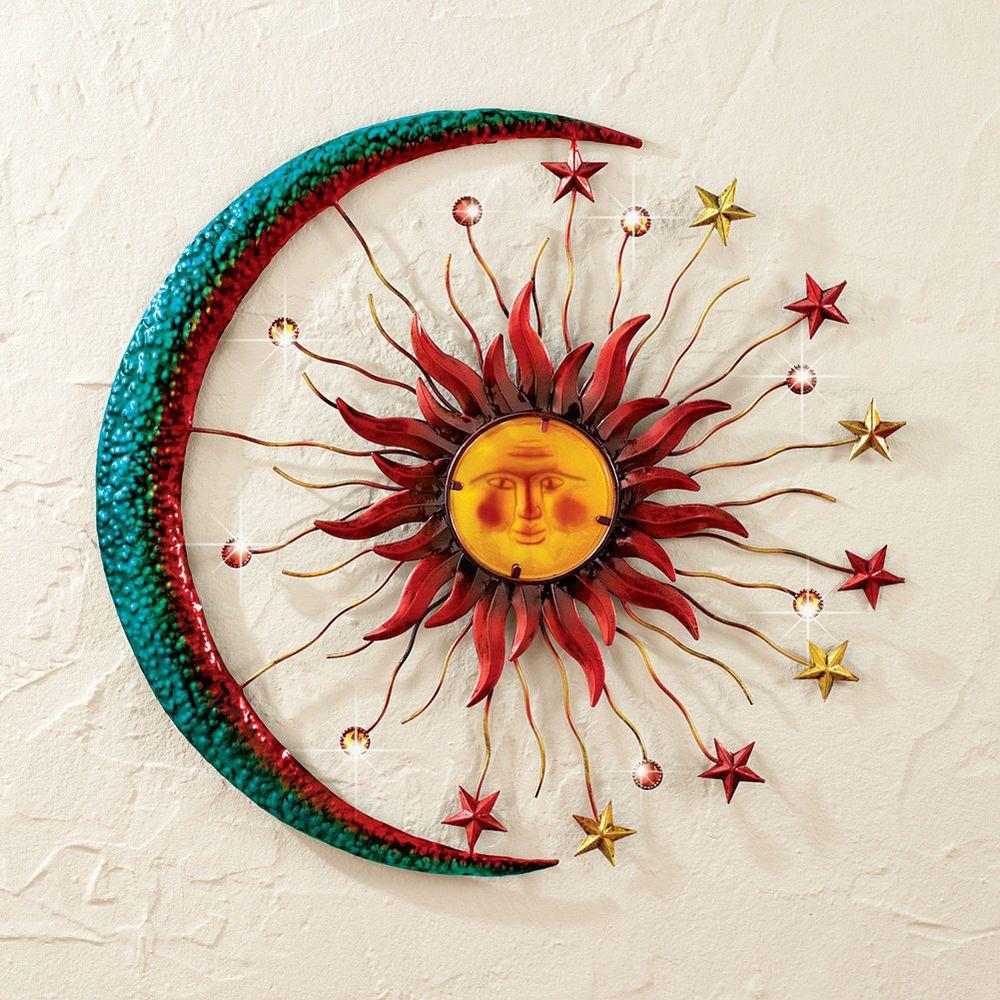 Metal Celestial Moon Sun Decor Garden Art Indoor Outdoor Patio Wall Sculpture