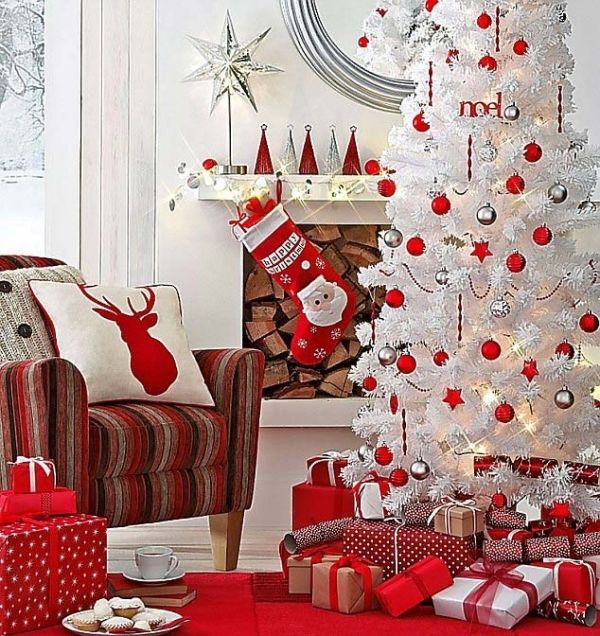 White christmas tree red ornaments pillow and presents for White christmas tree pinterest