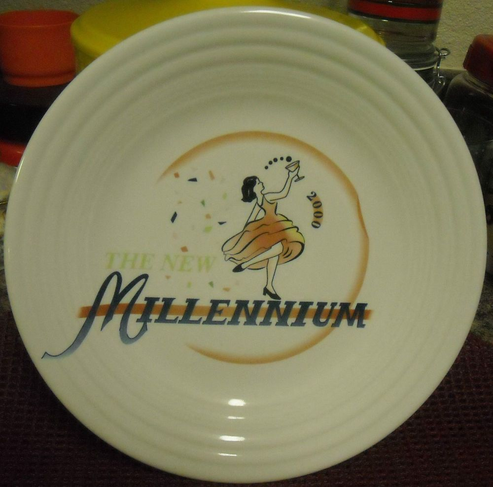 FIESTA Millennium 2000 HLC 9  Plate NEW Homer Laughlin Commemorative & Platinum or Gold-Plated Sterling Silver Swarovski Zirconia Three-Row ...