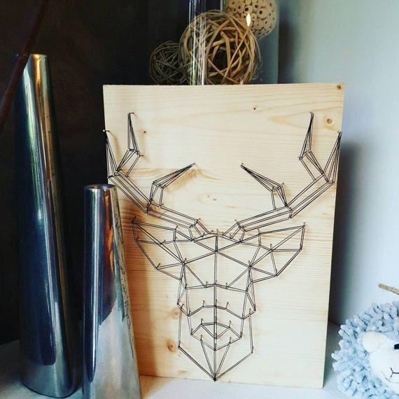 pingl par louve sur louve cr atrice de string art pinterest fil tendu cerf et fils. Black Bedroom Furniture Sets. Home Design Ideas