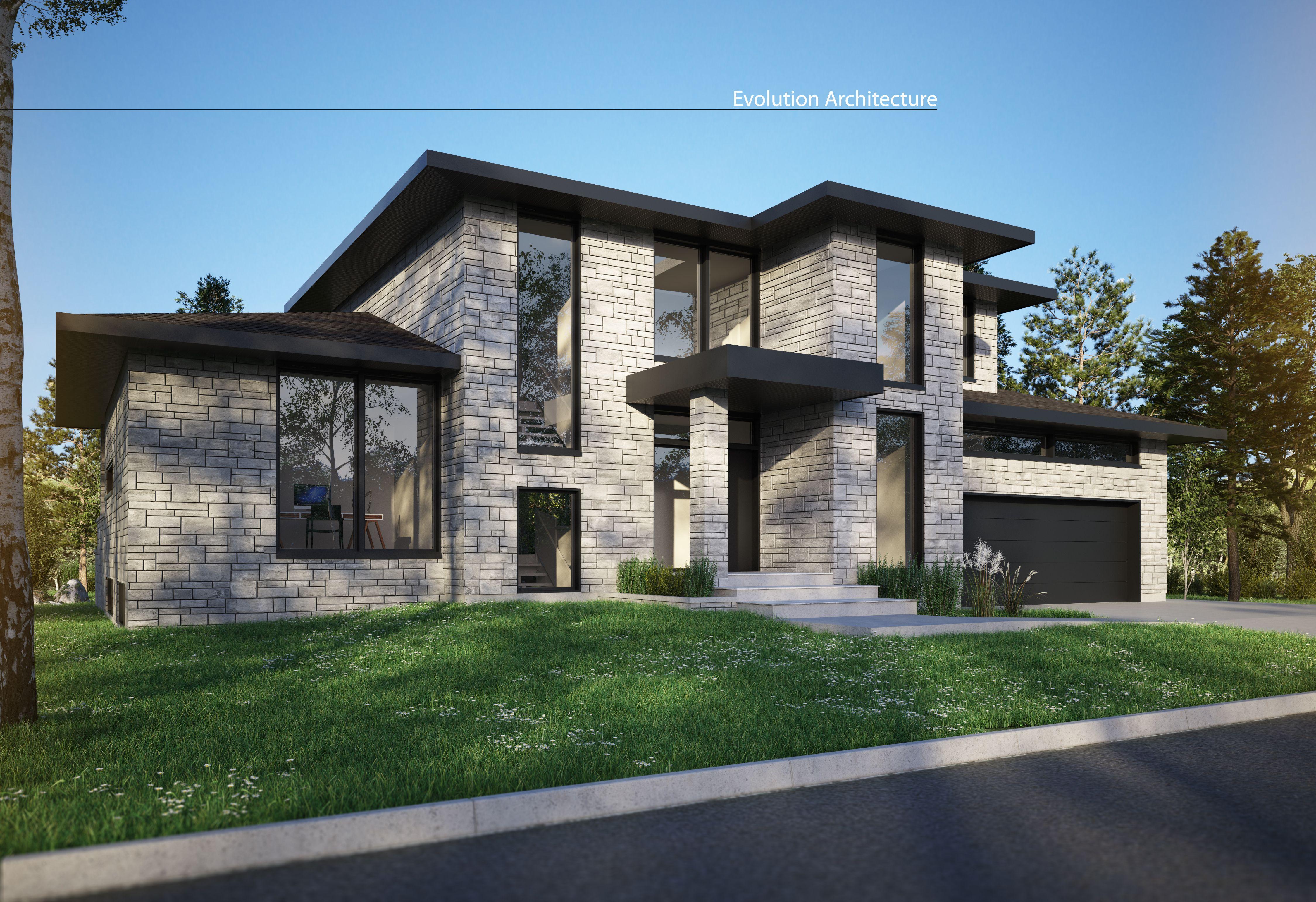 Plan maison moderne architecture projet exclusif e 956 for Projet maison moderne