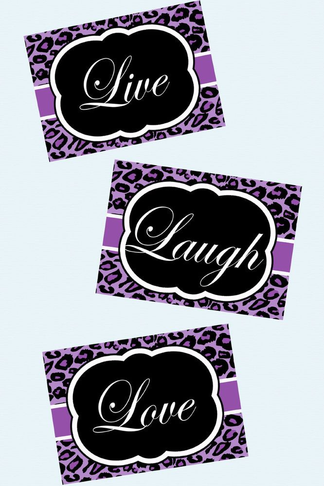"""""""Live, Laugh, Love"""" Set of three 5x7 photographic prints.  Available on eBay for $11.99.  Perfect for girl's room or bathroom.  Like us on facebook at https://www.facebook.com/feelgoodprints"""