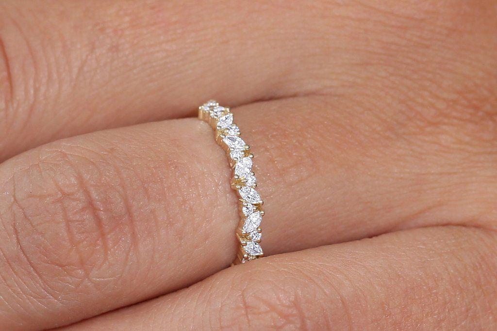 14k Gold Slanted Marquise And Round Diamond Necklace Diamond Wedding Bands Marquise Diamond Ring Round Diamond Ring