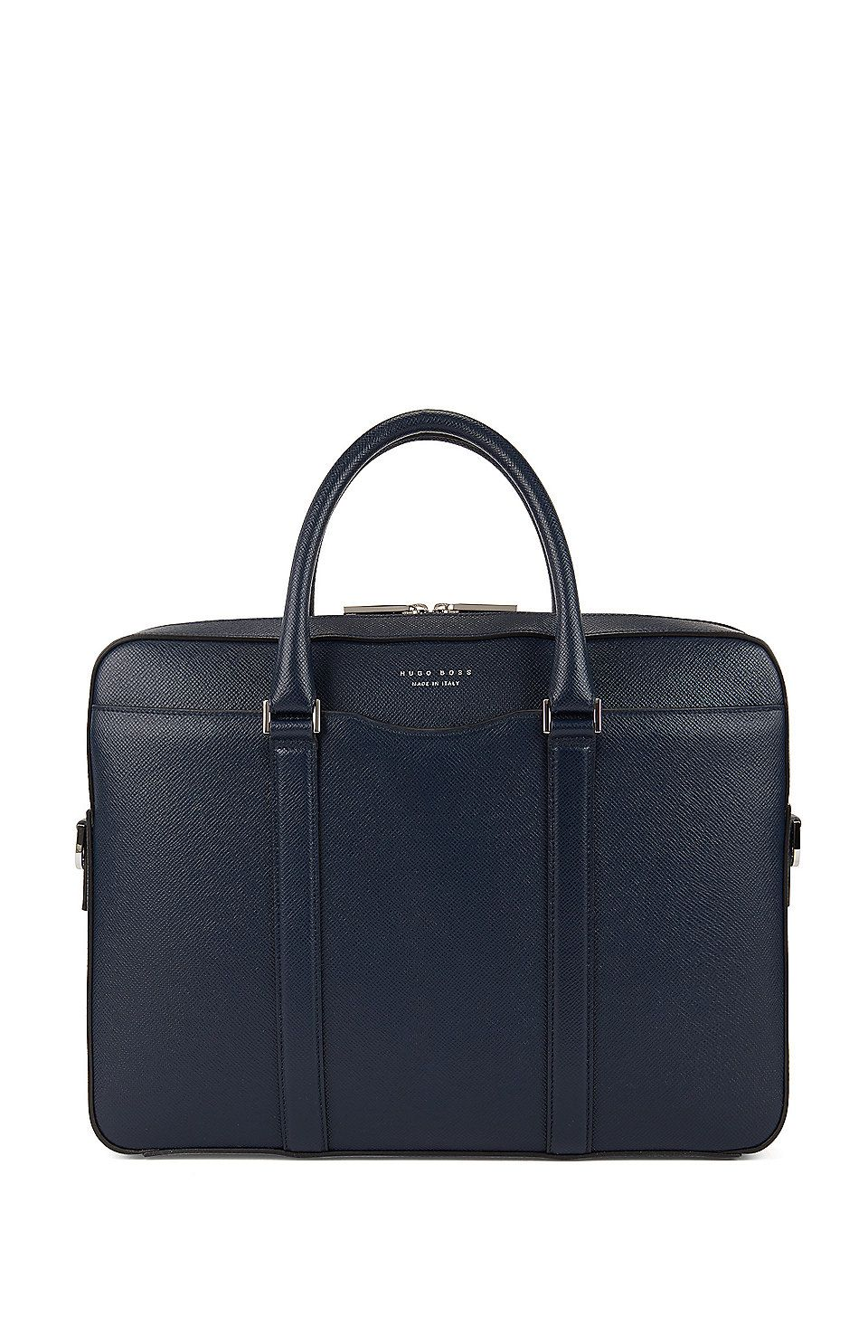 da48fc42fd HUGO BOSS Signature Collection document case in Italian calf leather - Dark  Blue Bags from BOSS