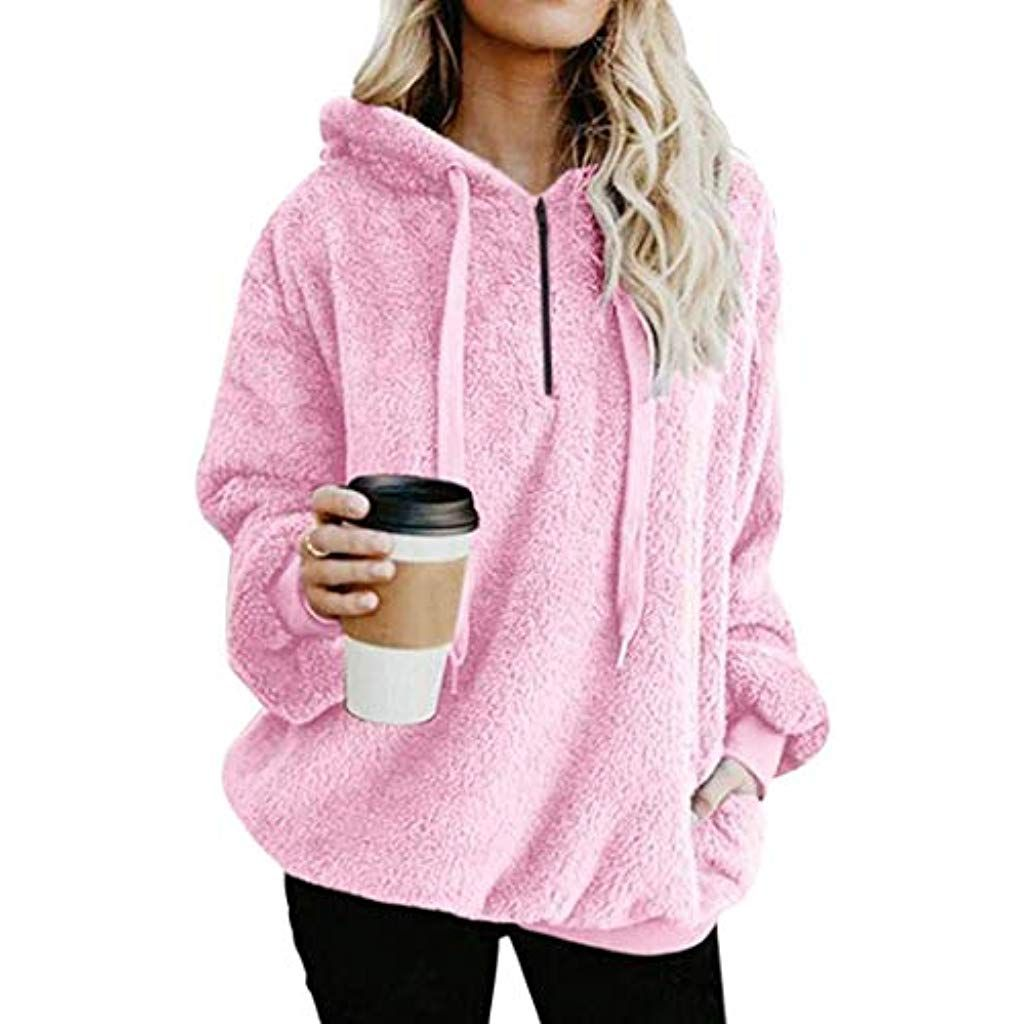 2019 Women Ladies Button Coat Fluffy Tail Tops Hooded Pullover Loose Sweater CA