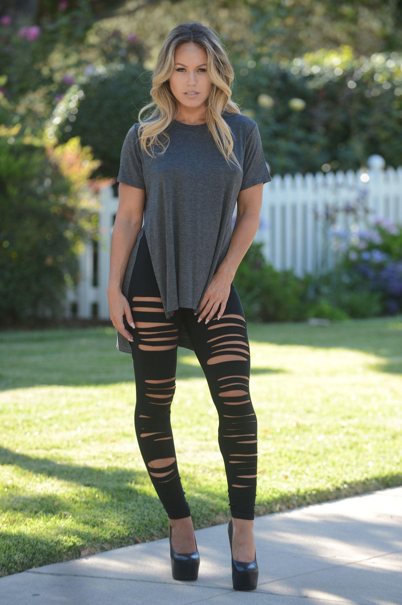 Black Ripped Leggings - Black | Ripped leggings Leggings ...