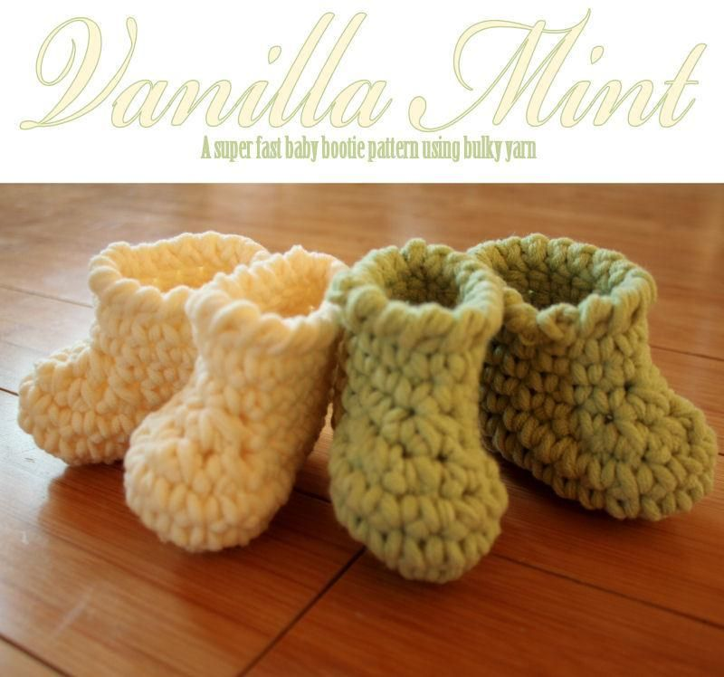 Vanilla Mint Baby Booties Crochet Pattern Using Bulky Yarn Sizes