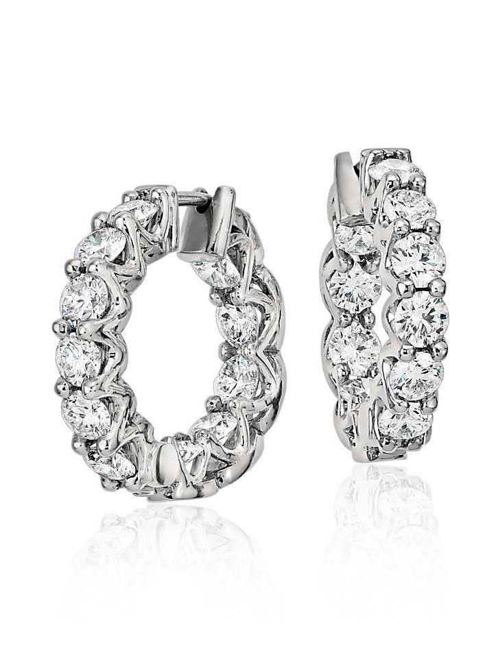 cc97347139244 Signature Diamond Eternity Hoop Earrings in Platinum (3.5 ct. tw ...