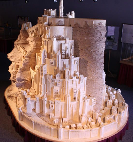 Toothpick sensation, Patrick Acton, has been supplying Ripley's Believe it or Not with matchstick creations since 1994 and now, after three years of work, he has recreated Middle-earth's Minas Tirith out of 420,000 matches.