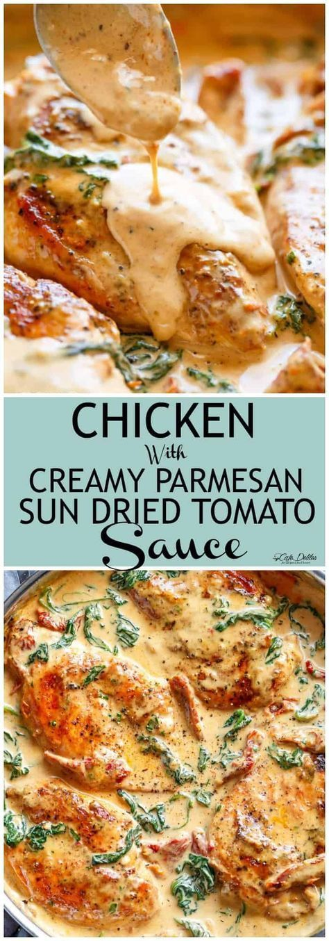 Chicken with Creamy Sun Dried Tomato Parmesan Sauce - Cafe Delites #tomatocreamsauces