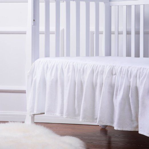 Tillyou 100 Combed Cotton Sateen Crib Skirt White With Ruffle Crib Skirts Ruffle Crib Skirt Ruffle Bed Skirts