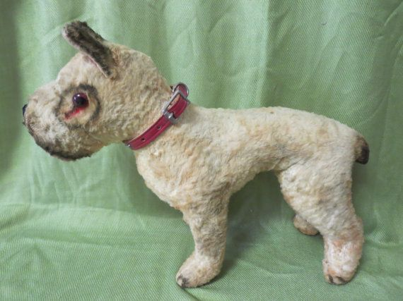 Vintage Large Boxer or Pitbull Stuffed Dog Toy, Antique Dog Figure with Studded Collar, Made of Cotton Batting Material,