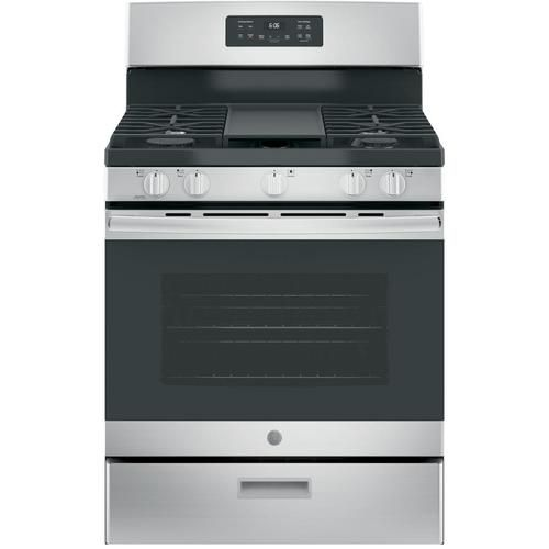 Shop Ge 5 Burners 5 Cu Ft Manual Cleaning Freestanding Gas Range Stainless Steel Common 30 In Actual 30 Stainless Steel Oven Gas Range Free Standing Gas