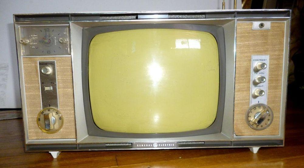 1963 Ge Portable Television Alarm Clock Radio Vintage Tv Etched