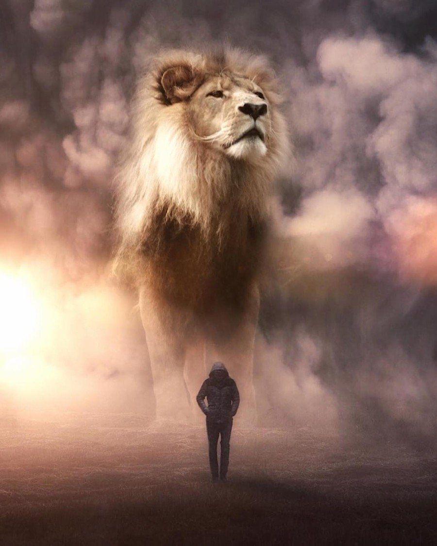 Surreale Fotomontagen: Überlebensgroße Wildtiere vs. menschliche Miniaturausgaben - KlonBlog