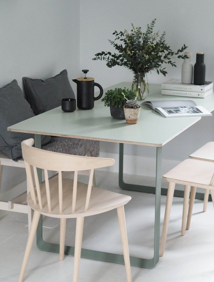 Soft green dining table muuto 70 70 table in green modern scandinavian design dining table plants in the home