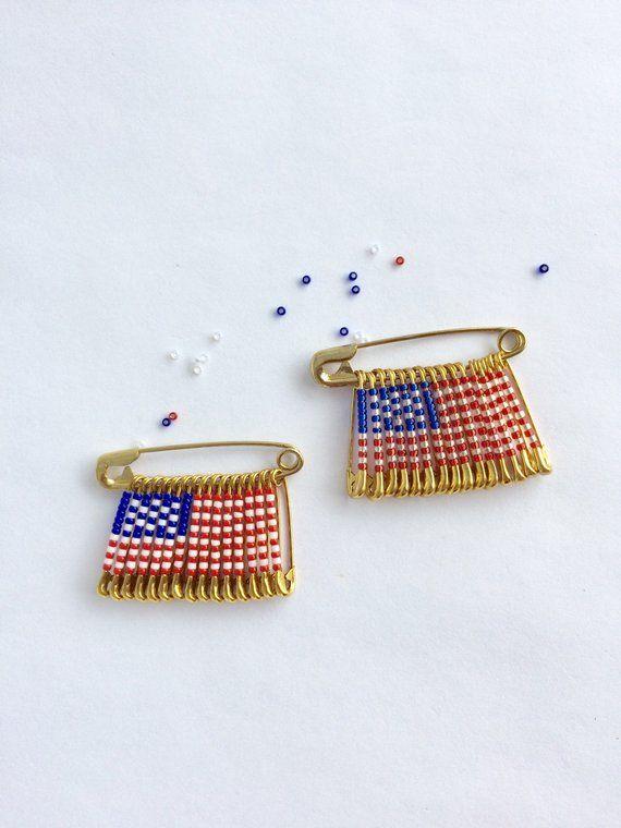 USA Flag Pin Handmade Brooch Beaded Lapel Safety Birthday Gift Veterans Day La