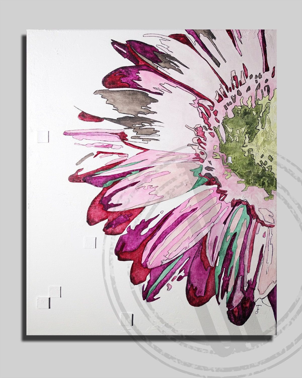 Tableau Art Moderne Flower Floral Art Textured On Canvas 16x20 Inches Pink