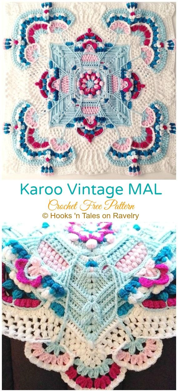 HowtoMakes Karoo Vintage MAL Crochet Free Pattern #crochetmandalapattern