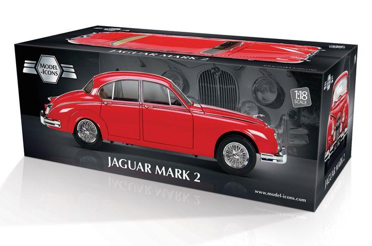 Model-Icons packaging for red Jaguar Mark 2