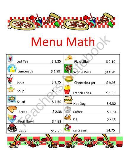 menu math worksheets calorie count math worksheet for elementary school children high. Black Bedroom Furniture Sets. Home Design Ideas