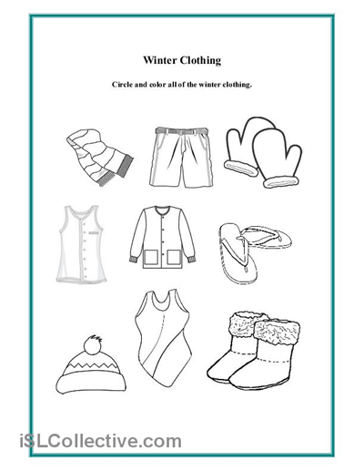 Preschool Winter Clothing Worksheet | Daycare - Clothing
