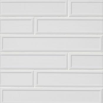 imperial bianco frame matte ceramic subway wall tile - 4 x