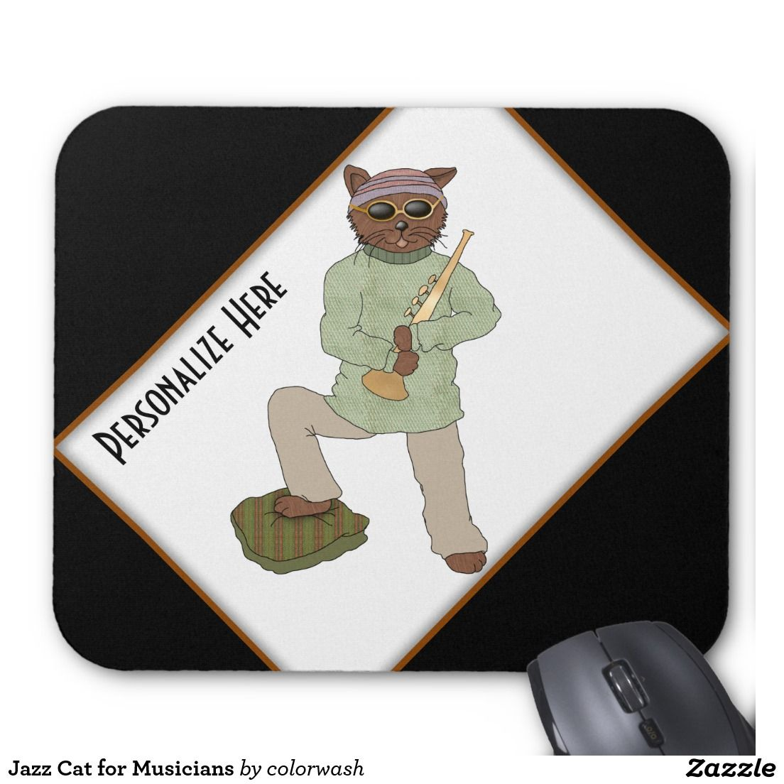 Gray Musicians Mouse Pad One Very Kitty To Match Upwith One Very Make It A Catpad Instead Musicians Mouse Pad Jazz Mice A Jazz Cat Mousepad Jazz Cat custom Cool Mouse Pads