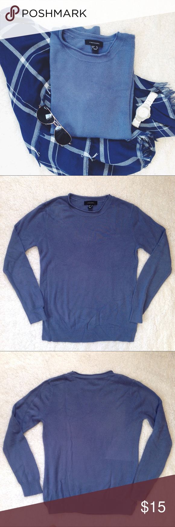 Atmosphere Pullover Sweater Dusty blue pullover sweater. Feels like cashmere! Long sleeves. Details on shoulders.  Condition: Gently worn. Minor pilling under arms, shown in photo   ◆If you'd like more pics or have questions, ask! 🚫NO TRADES🚫 Atmosphere Sweaters