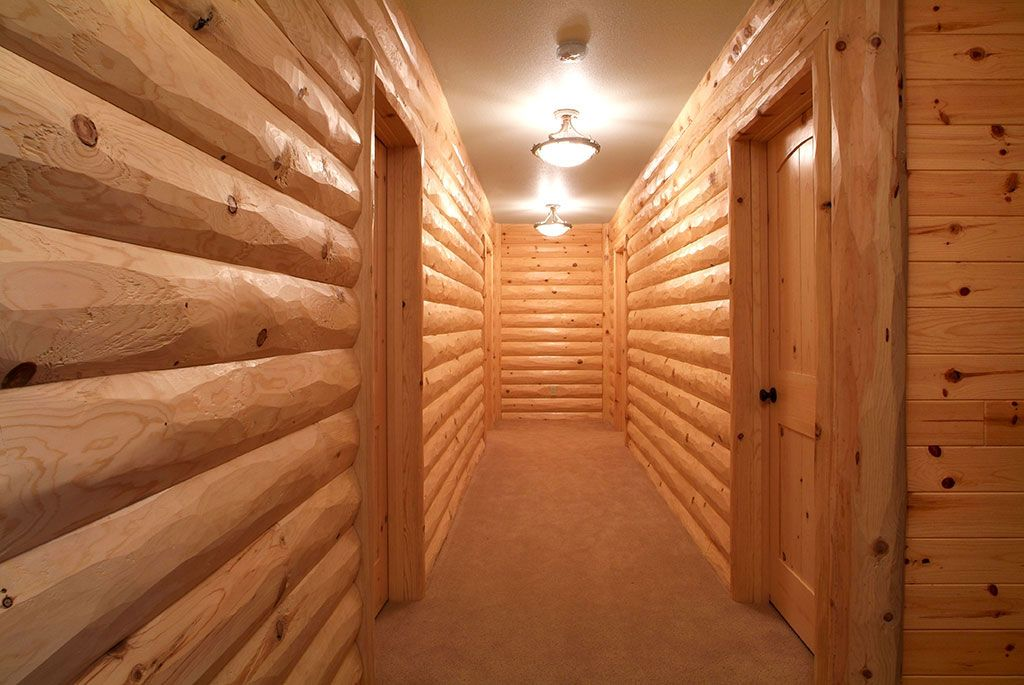 Half Log Interior Paneling Hallway 8 Inch Hewn Pine Siding With 4