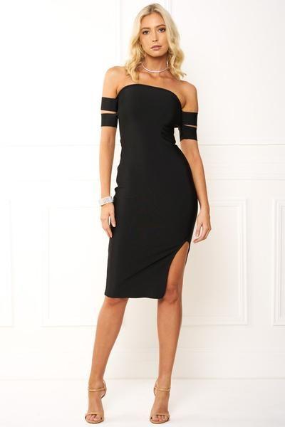 d007caf9db8 Honey Couture FREYA Black Off Shoulder Strap Bandage Dress