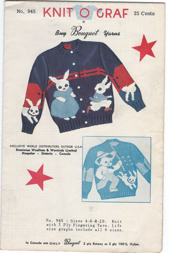 Knit O Graf Pattern 945 Child Rabbit Sweater Cardi… | Vintage Sewing ...