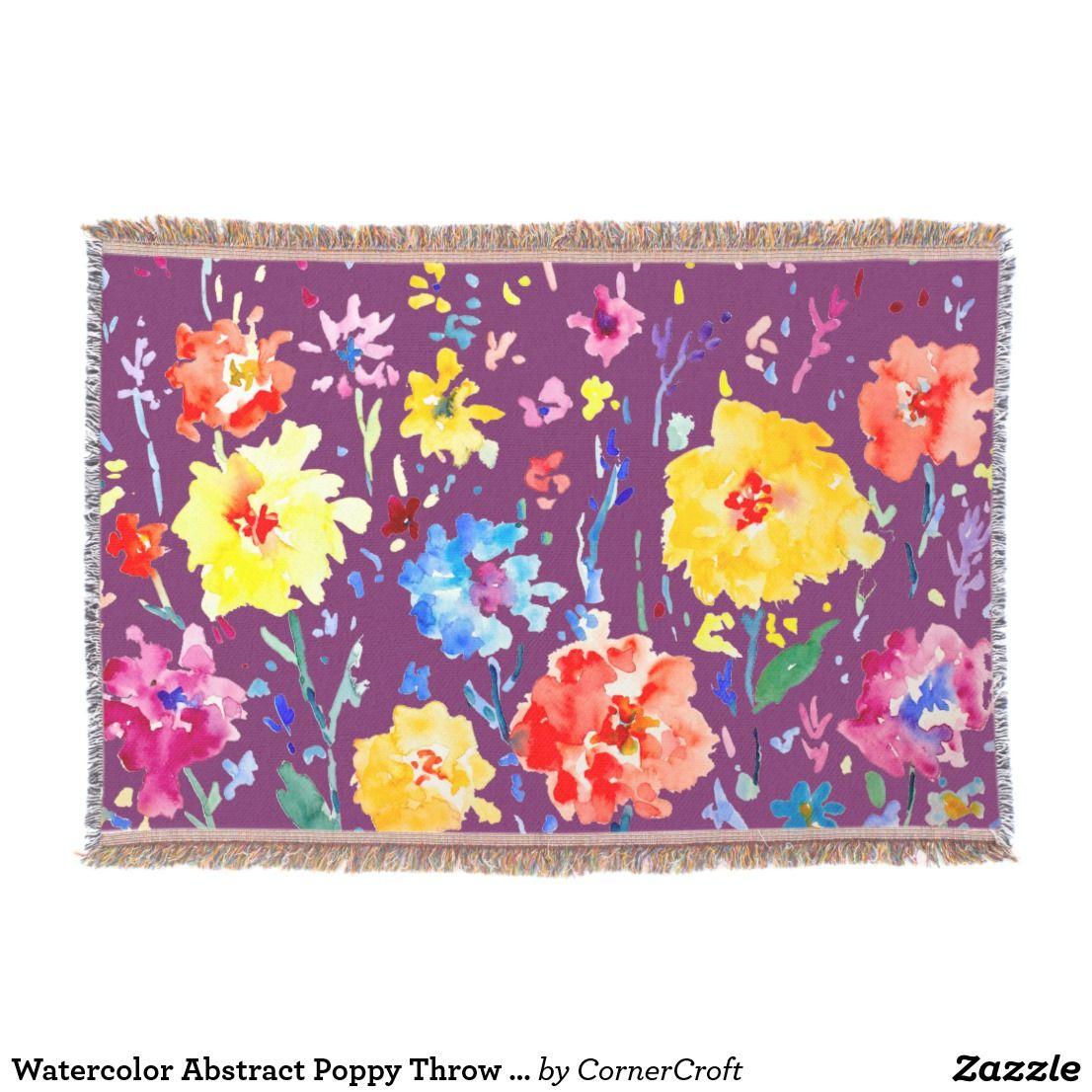 Watercolor Abstract Poppy Throw Rug Affiliate Link Flowerblankets Mantasdeflores Blumen Decken Couverture Abstract Poppies Flower Art Abstract Watercolor