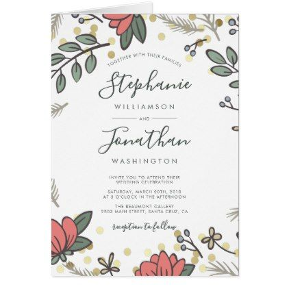 Elegant Gold Confetti Spring Floral Wedding Card Gold confetti